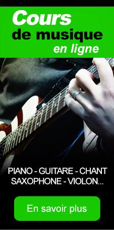 cours en ligne de musique : piano guitare violon piano percussion chant saxophone...
